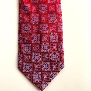 Courage Red Blue Square Pattern Iridescent Tie